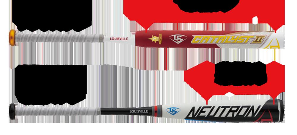 ソフトボール用バットと軟式バットの芯の広さ比較