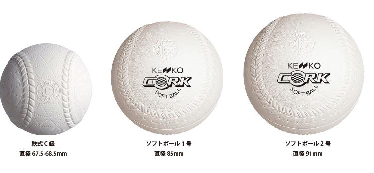 軟式ボールとソフトボールの大きさ比較