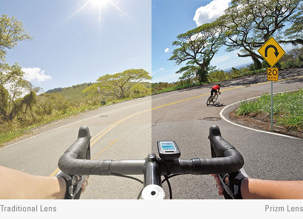 オークリープリズムレンズ見え方比較自転車