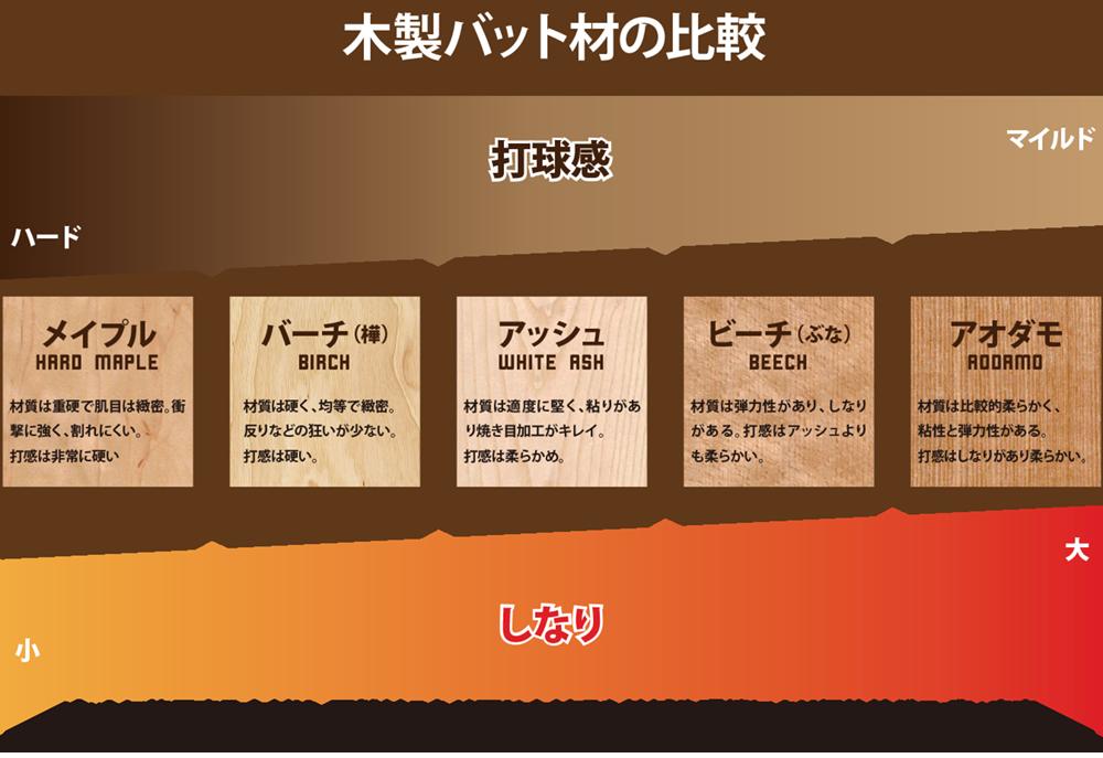 硬式木製バットの木材特徴比較