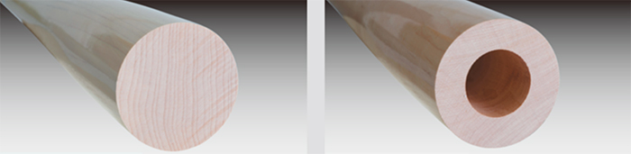 軟式木製バットの中身中空タイプと硬式仕様の違い